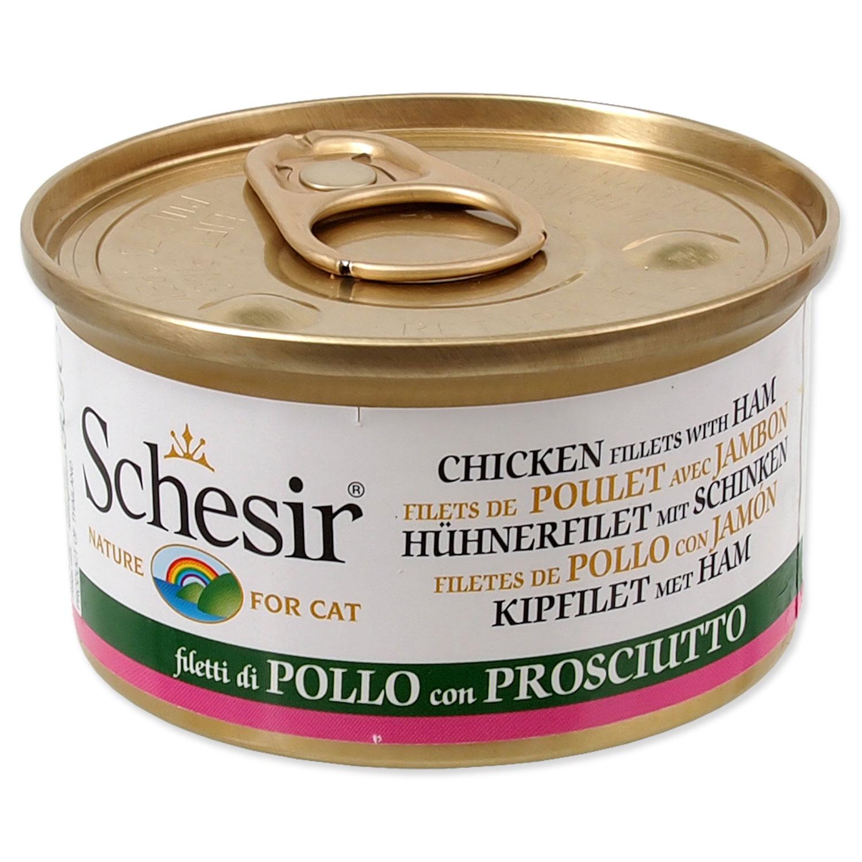 Konzerva SCHESIR Cat kuřecí + šunka v želé