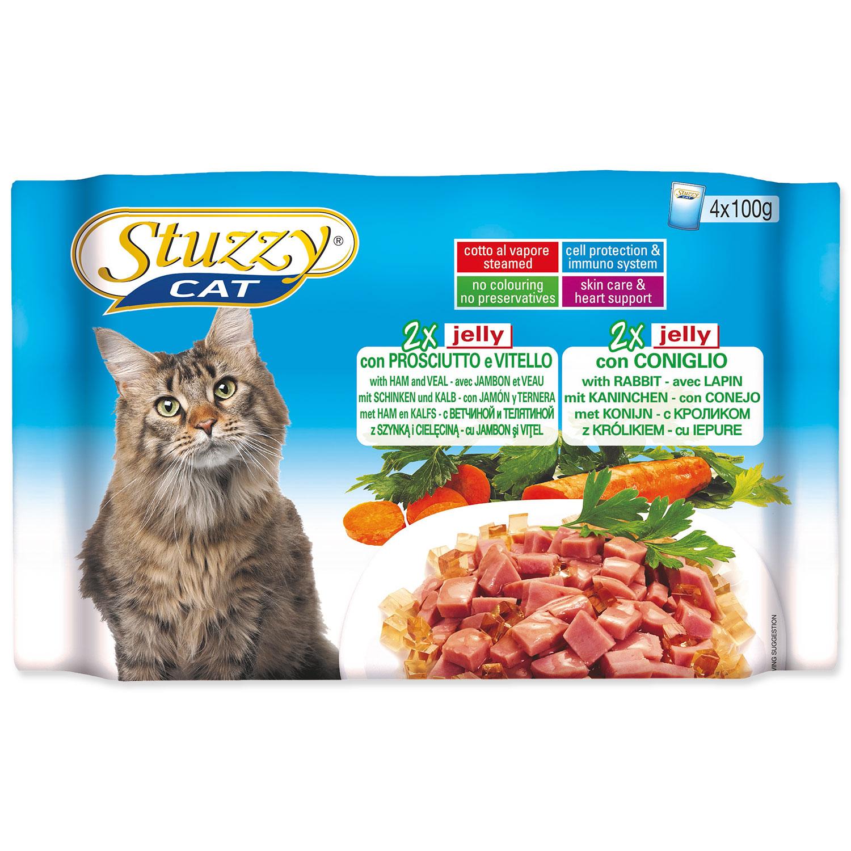 Kapsičky STUZZY Cat šunka s telecím + králík v želé multipack 400g