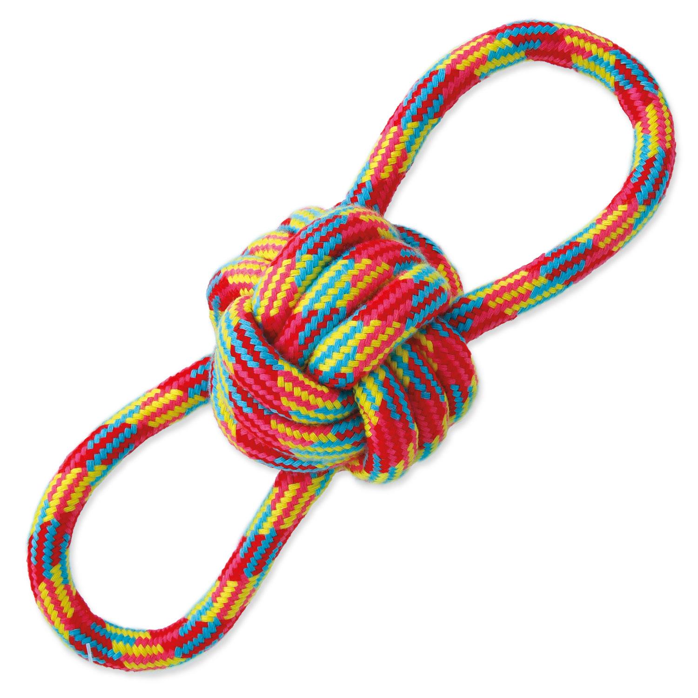 Přetahovadlo DOG FANTASY osmička barevné bavlna + uzel 22 cm
