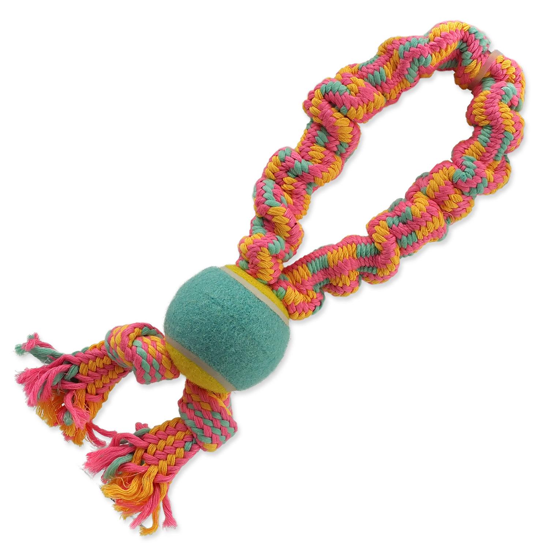 Přetahovadlo DOG FANTASY barevné + tenisák vzor 1, 2 knoty - 32 cm