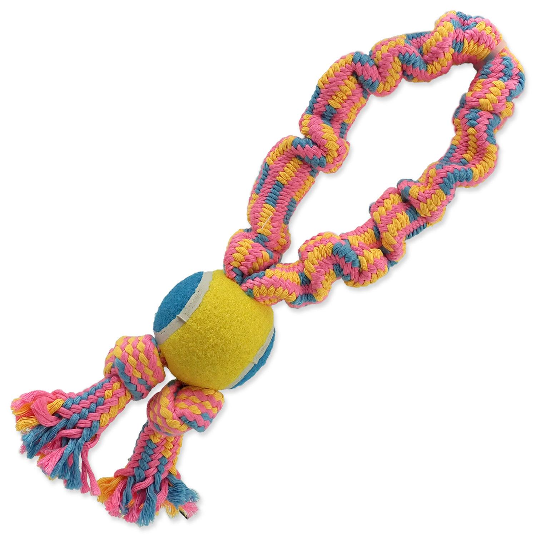 Přetahovadlo DOG FANTASY barevné + tenisák vzor 2, 2 knoty - 32 cm