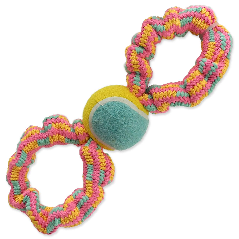 Přetahovadlo DOG FANTASY osmička barevné + tenisák vzor 1 - 27 cm