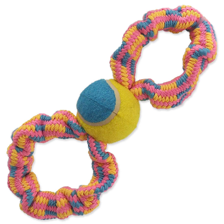 Přetahovadlo DOG FANTASY osmička barevné + tenisák vzor 2 - 27 cm