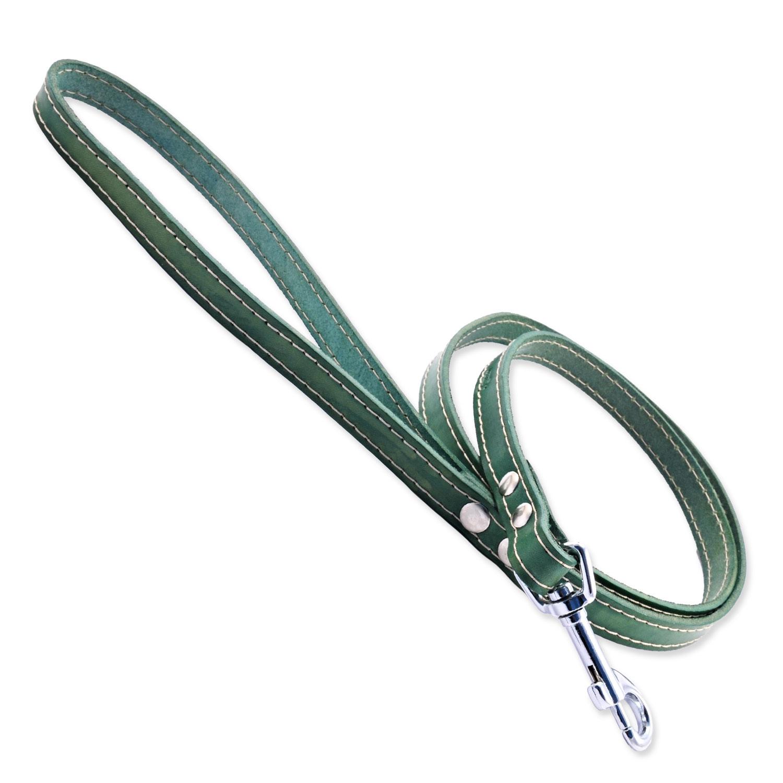 Vodítko TAMER kožené 1,4 / 175 cm zelené