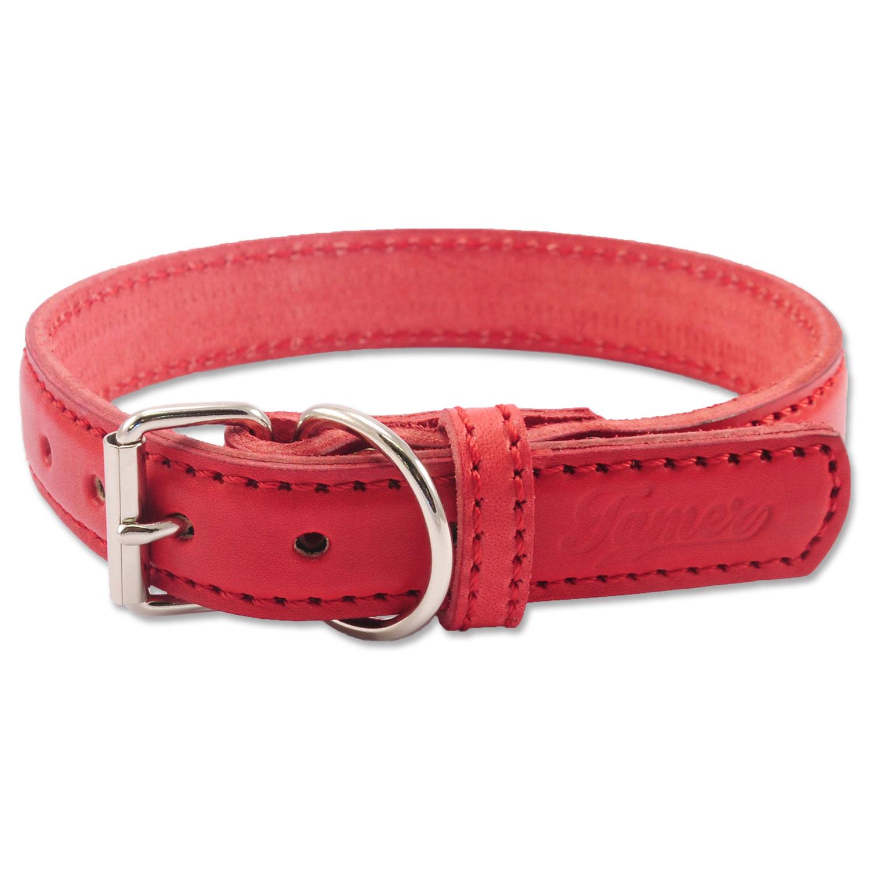 Obojek TAMER kožený 2,5 / 45 cm červený