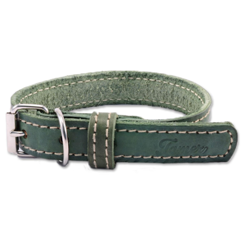 Obojek TAMER kožený 3,5 / 50 cm zelený