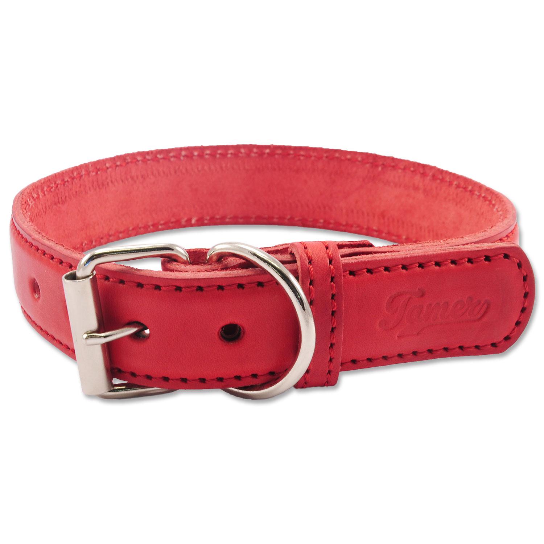 Obojek TAMER kožený 3,5 / 65 cm červený