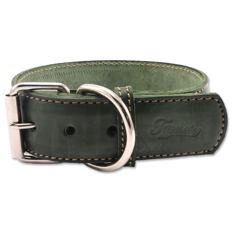 Obojek TAMER kožený 5 / 65 cm zelený