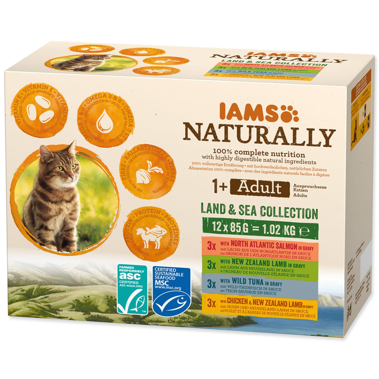 Kapsičky IAMS Cat Naturally výběr z mořských a suchozemských mas v omáčce multipack