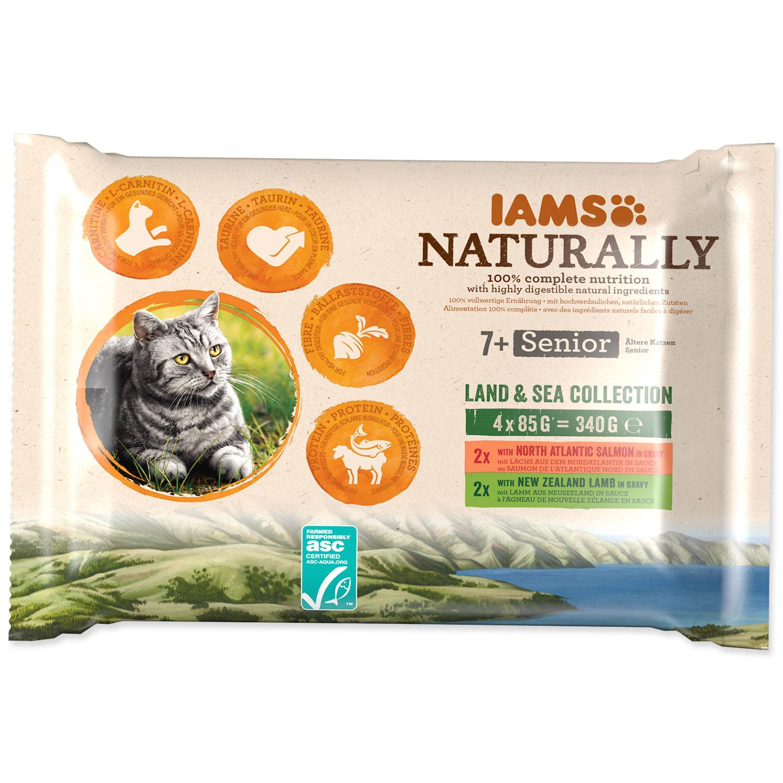 Kapsičky IAMS Cat Naturally Senior výběr z mořských a suchozemských mas v omáčce multipack