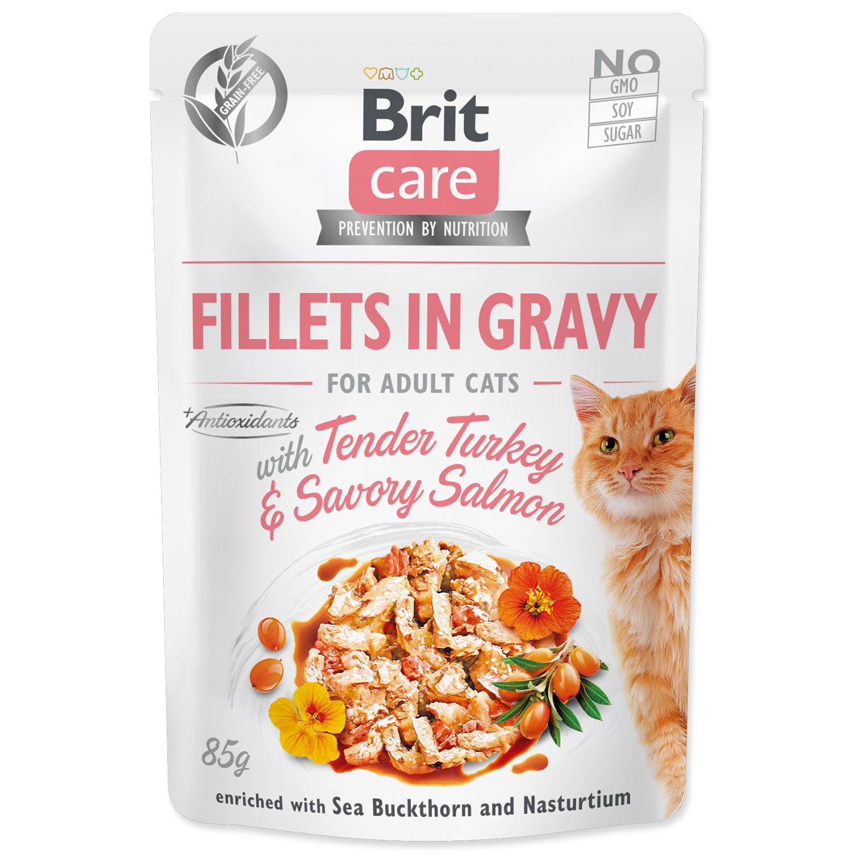 Kapsička BRIT Care Cat Fillets in Gravy with Tender Turkey & Savory Salmon
