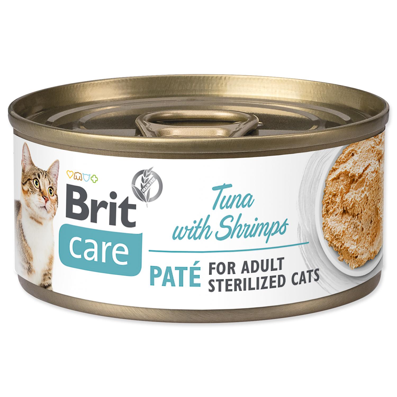 Konzerva BRIT Care Cat Sterilized Tuna Paté with Shrimps