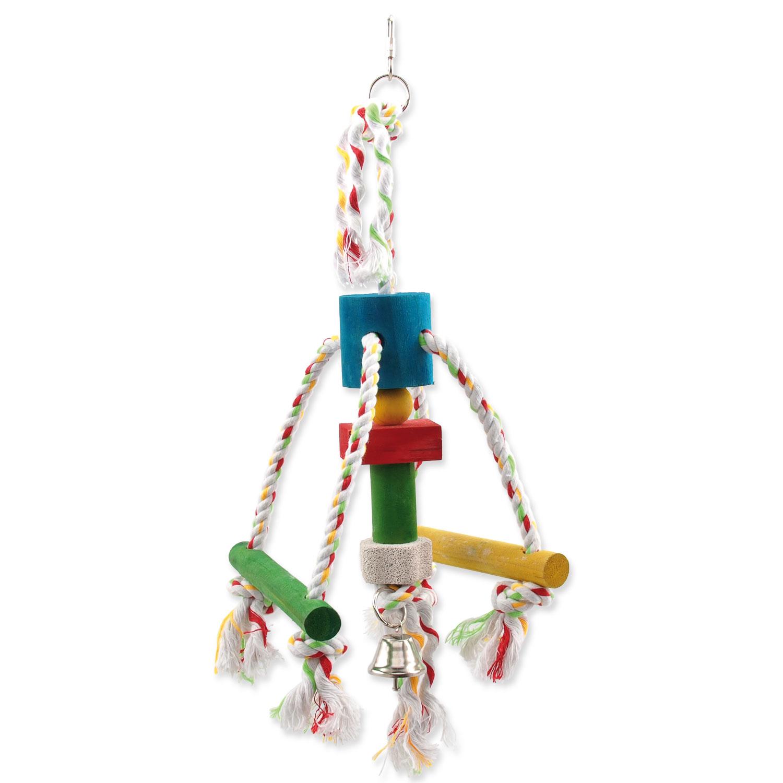 Hračka BIRD JEWEL chobotnička závěsná dřevo - provaz 29 cm