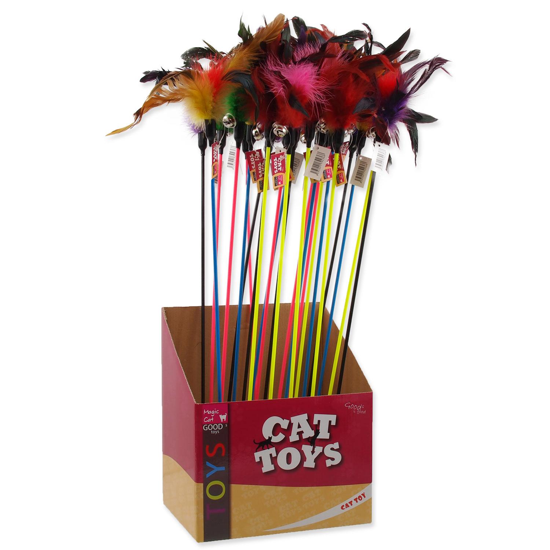 Hračka MAGIC CAT šidítko s pírky a rolničkou 17 cm + 49 cm