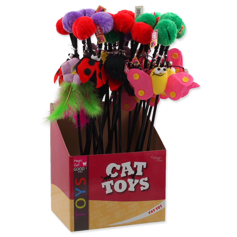 Hračka MAGIC CAT prut s bambulí a hračkou mix 6 cm + 45 cm