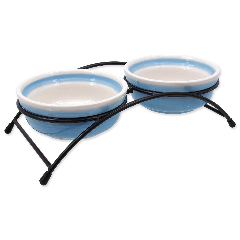 Set MAGIC CAT misky keramické se stojánkem modré