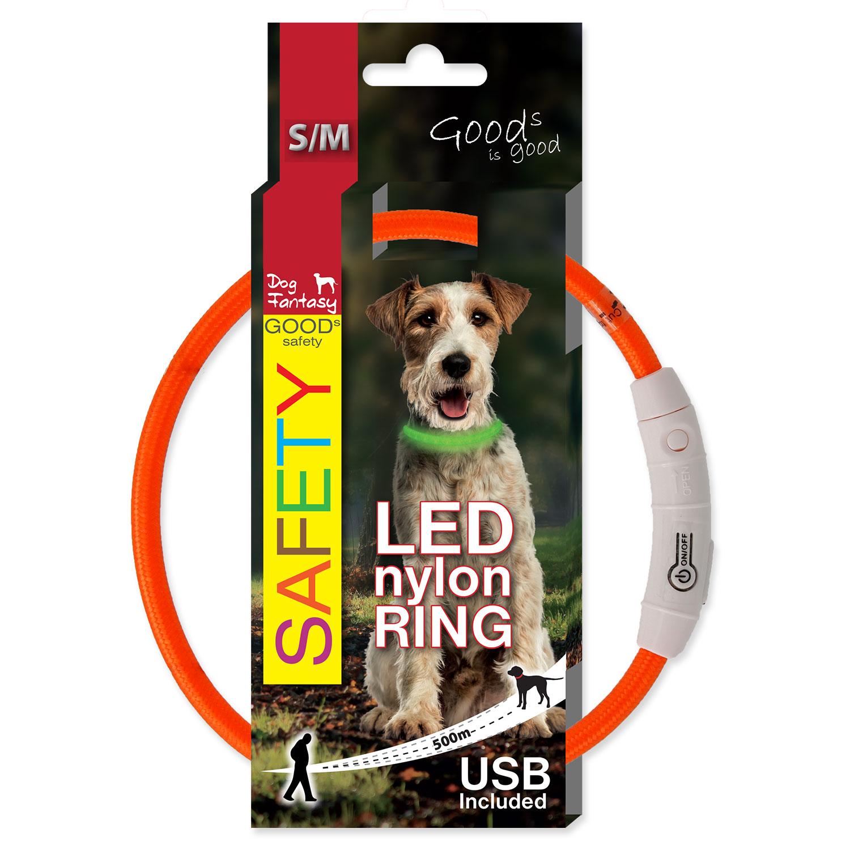 Obojek DOG FANTASY LED nylonový oranžový S-M