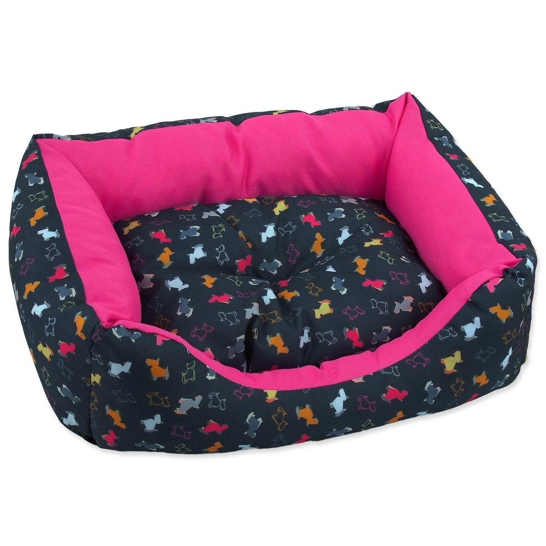 Sofa DOG FANTASY origami pes mix černo-růžové 75 cm