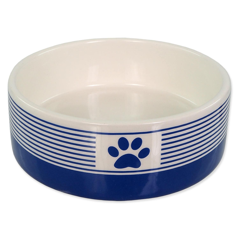 Miska DOG FANTASY keramická pruh s tlapkou tm. modrá 12,5 cm