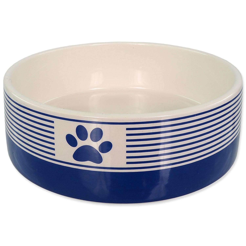 Miska DOG FANTASY keramická pruh s tlapkou tm. modrá 16 cm