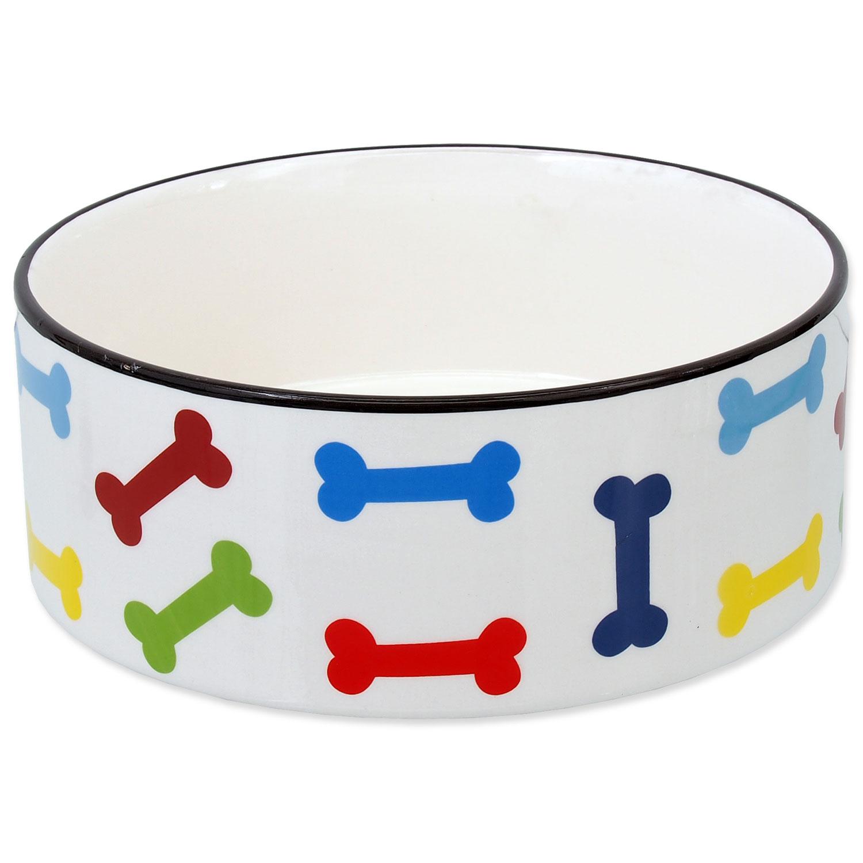 Miska DOG FANTASY keramická potisk barevné kosti bílá 20,5 cm