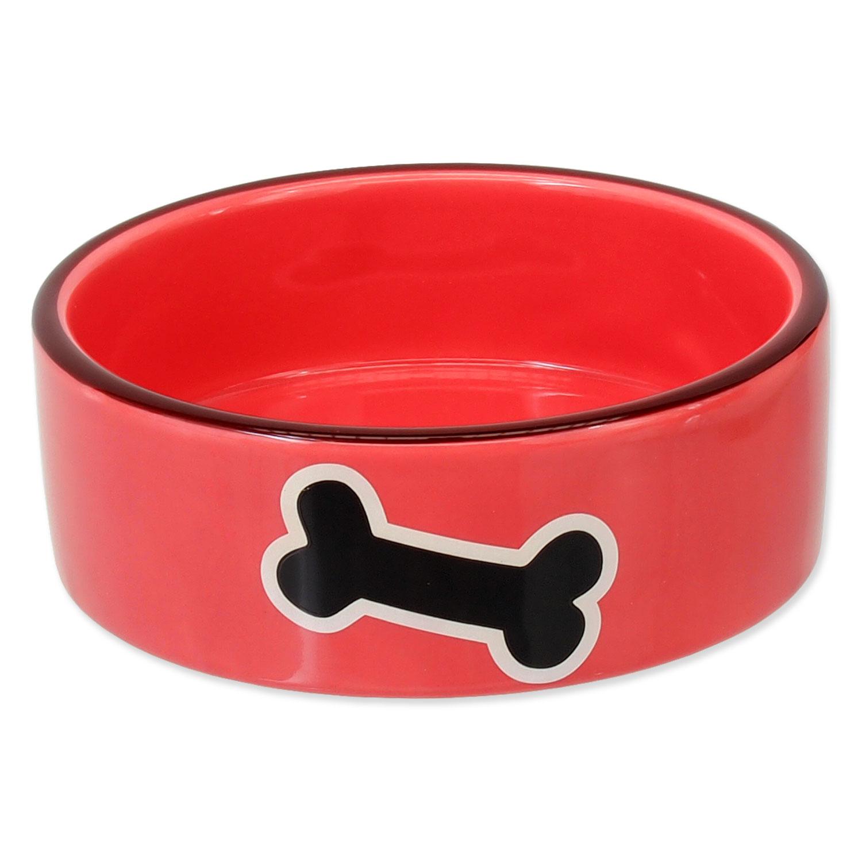 Miska DOG FANTASY keramická potisk kost červená 12,5 cm