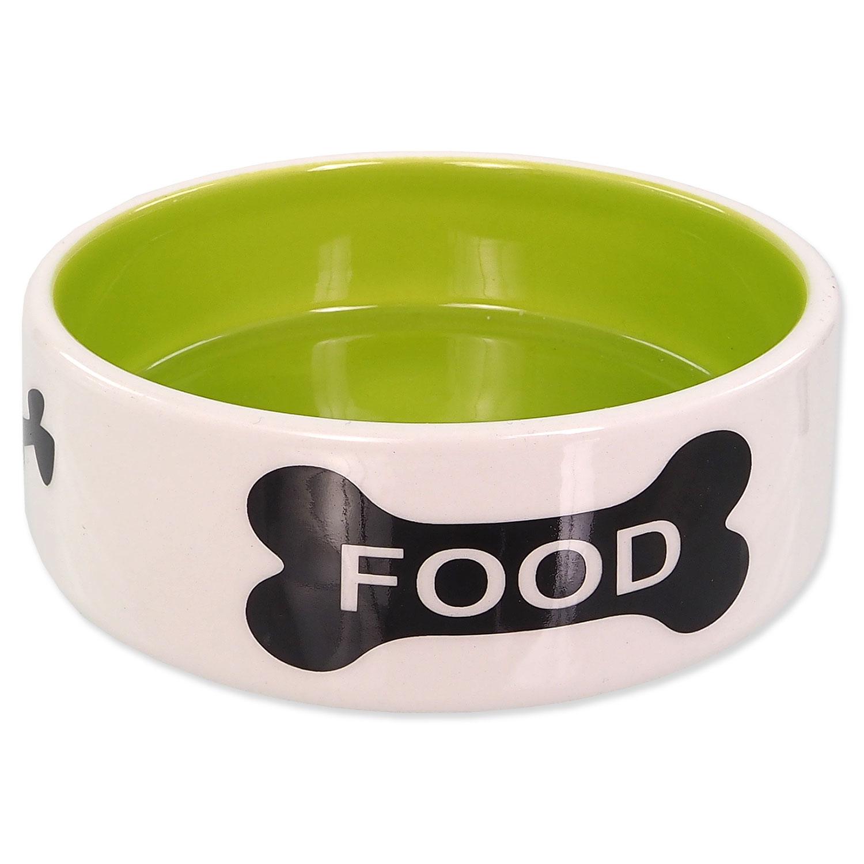 Miska DOG FANTASY keramická potisk kost bílo-zelená 12,5 cm