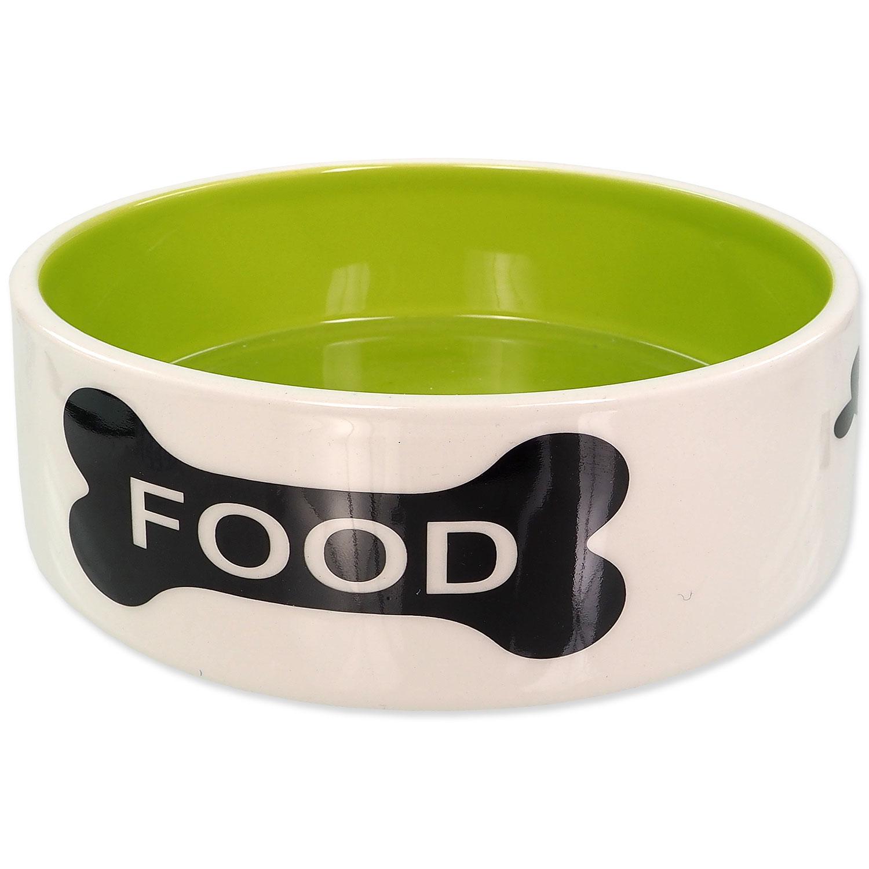 Miska DOG FANTASY keramická potisk kost bílo-zelená 0,77 l