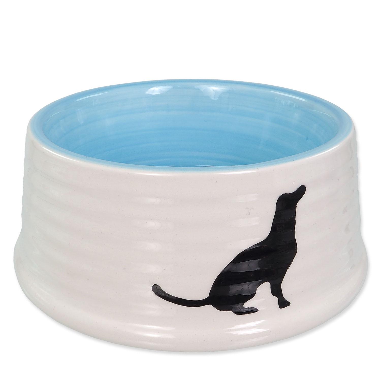 Miska DOG FANTASY keramická motiv pes bílo-modrá 16 cm 0.44l