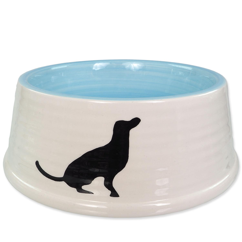 Miska DOG FANTASY keramická motiv pes bílo-modrá 21 cm