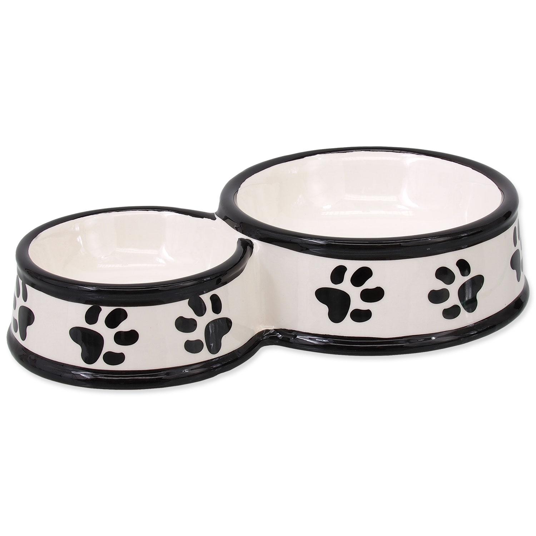 Dvojmiska DOG FANTASY keramická potisk tlapka bílá 25 cm