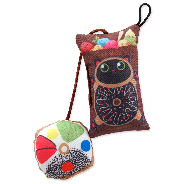 Hračka LET`S PLAY polštářek motiv kočka s catnipem 9 cm