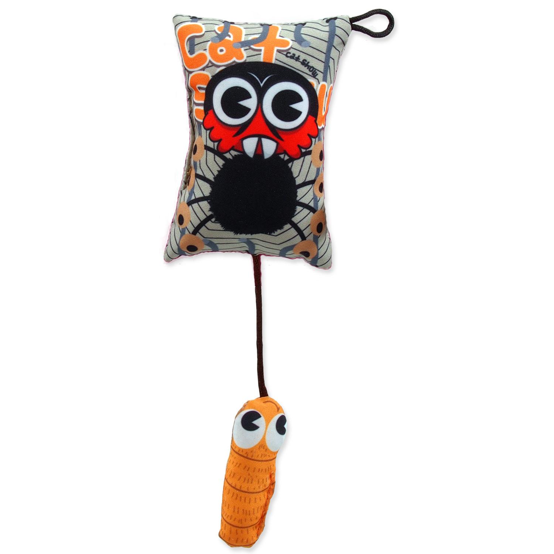 Hračka LET`S PLAY polštářek motiv pavouk s catnipem 9 cm