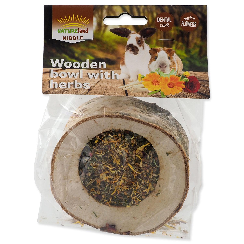 Miska NATURE LAND Nibble plněná bylinkami dřevěná